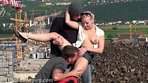 A very cute blond teen girl public fucking with 2 boys in public with oral deep throat blowjob and vaginal sexual threesome intercourse with vaginal pussy fuck while random strangers see them during this exciting adult adventure recorded on a video