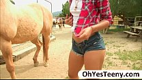 Teen cowgirl Gabriella Ford rides a massive dick and receives cum