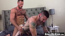Inked dick rider bends his ass over for raw barebacking