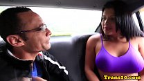 Pulled latin tgirl assrailed and facialized