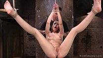 Babe in extreme rop bondage ass caned