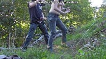 Image: Passionate couple porn scenes in the desolate woods