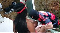 Real Amateur Brazilian black big ass sexy y. does anal sex and get cumshot on her ass