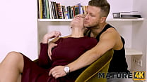 MATURE4K. Blonde mature woman has pussy fucked by handsome potential boss