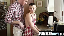 Tiny gayboy Austin impaled by huge cock dad Legrand in kitchen-FUNSIZEBOYS.NET