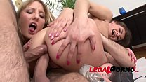 Savage whores Betty & Xenia in double anal foursome fuckfest