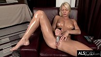 Pinky June Oils Up to Finger and Fuck Her Pussy to Orgasm