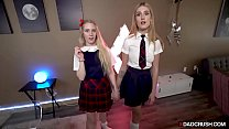 Two blonde stepdauhgters giving head