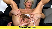 Hairy old pussy close-ups and fingering with grandma Hanna image