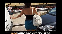 Spanish brunette fucked hard in a Van