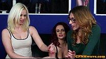 Euro CFNM femdom edging blokes throbbing cock preview image