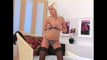 Beautiful blonde teases in lingerie and stockings Preview