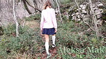 Not Brother Films not Sister Schoolgirl in the Woods  part 2  Handjob Cumshot