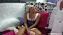 Skinny cheerleader takes a fat cock
