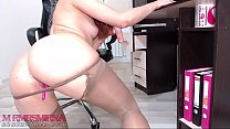 Hot girl playing with toys at work