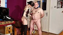 Goth domina painful CBT & bellypunch her fat slave pt1 HD