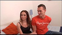Cute young brunette in threesome