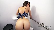 Innocent brunette banged in public restroom