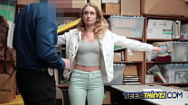 Hot blonde gets her pussy stuffed with investigators huge cock