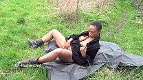 Ebony babe Michelles public flashing and black cuties outdoor masturbation image
