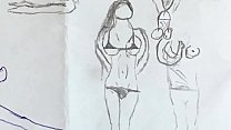 Drawing of naked girls