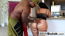 BBW babes take turns taking care of a big black...