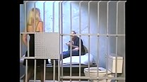 Nasty fairhaired cougar Kathy Jones plays fast and loose with young yard bull in the preventive detention cell