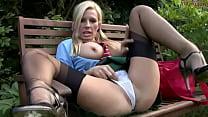 Blonde Leggy Schoolgirl in Black shear Stockings