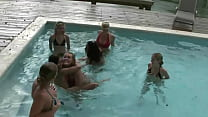 Naked girls orgy in the pool