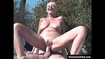 Old lady fucks in backyard by the pool