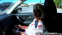 4k UHD Step Daughter In Car Seduces Step Dad With Her Cute Sexy Ass , Spreading Her Butt And Pussy Open , Asshole Poking In And Out Inside Public Parking Lot Sheisnovember صورة
