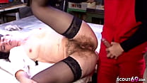 Hairy Pussy Mature Wife of the Boss Seduce Young Boy to Fuck