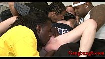 Teen babe all holes banged by black men