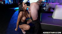 Amia Miley's shaved pussy fucked in a club image