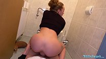 Public Agent Multiple orgasms as tight pussy stretched in public toilet preview image