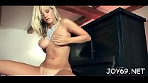 Luscious hotty loves to satisfy herself in a cute solo game image