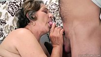 Old hairy pussy filled with young cock preview image