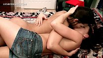 Hot naked lesbians making out passionately in bed preview image