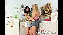2 lesbians play with a nice dildo
