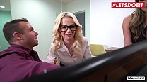 LETSDOEIT - Horny Secretaries Bella Rose And Athena Faris Fuck Super Hard Their Horny Boss Image