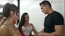 Nasty teen bitches fucked by gym trainer