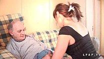 Pretty little French whore sodomized in a 3some with grandpa's oral creampie