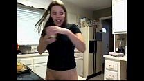 Brunette Goes Bottomless in Kitchen