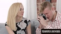 Innocent Photo Shoot Ends with Cum Dripping out of Teen Alina Blondes Pussy