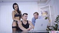 Beautiful babe has fun with bisex men image