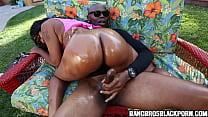 Hot amateur ebony babe gets boned by a huge black dick