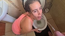 Piss slut getting her morning piss facial
