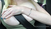 Naughty blonde fingering along the highway