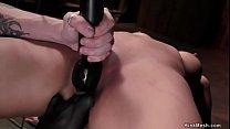 Mummified big tits slave gets vibrated