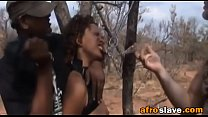 African slave gets tortured by two studs outdoors thumbnail